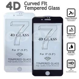 Iphone vidrio de alta calidad en venta-Nuevo protector completo de la pantalla de la cubierta de la llegada los 0.2MM 4D para el iPhone 7 7 más alta calidad I7 3D curvó el vidrio templado con la caja al por menor