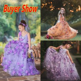 Wholesale Super Beautiful Flower Girls Dresses Real Image Spaghetti Pageant Dresses With Handmade Flowers Buyer Show High Quality Party Gown
