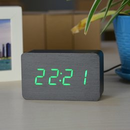Wholesale Wooden Alarm Clocks With Thermometer Sound Control Wood Led clocks Digital Desk Table Clock