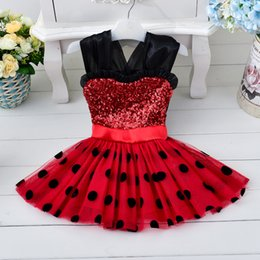 Wholesale Baby Kids Clothing Flower Girls Dresses vintage Princess Minnie Bow Polka dot Printed Ball Gown cute toddler pageant dress TuTu Party gowns