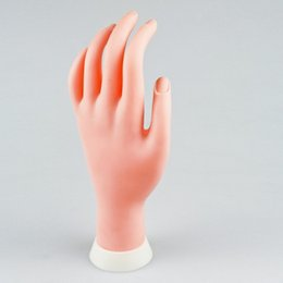 Wholesale Nail Practice Display Fake palm Flexible Movable Practice Soft Fake False Hand Model for Nail Art Design Traning
