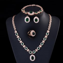 Wholesale royal emerald green CZ diamond bridal dinner party wedding jewelry sets for women
