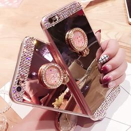 Descuento anillo de metal espejo Para el caso del iPhone 7 El espejo de lujo del sostenedor del anillo del rhinestone mueve detrás la cáscara de la galjanoplastia de la cubierta TPU para el iPhone 6S 7 Samsung Galaxy S6 S7 Edge