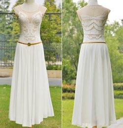 Wholesale Elegan fashion women Long white dresses Vintage flower embroidery lady party wedding casual chiffon dresses summer lady clothing