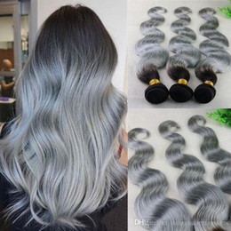 Ombre T1B  Gray Brazilian Hair Weaves 8A Best Quality Virgin Human Hair Extensions Silky Body Wave Hair Bundles Double Weft