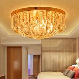 LED Modern Crystal Ceiling Lamps Golden Crystal Ceiling Lights Fixture Home Indoor Chandelier Lighting AC 110V 220V D50cm*H26cm