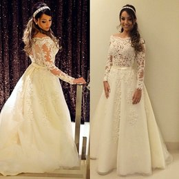 Princess Wedding Gowns With Long Sleeve A-line Tulle Appliqued Lace Sheer Vintage Wedding Dresses Robe De Mariee Princesse