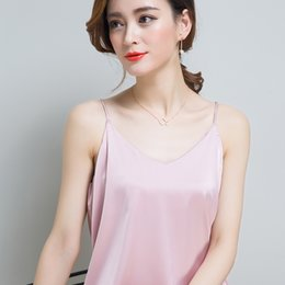 7 Colors Satin Solid Small Vest Short Summer Female Backing Slim All-match Ride Outside Tide Camisoles FND011