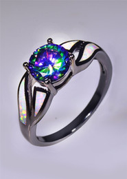 Wholesale & Retail Fashion Fine white Fire Opal Rings 10KT Black Gold Filled RJL170508003