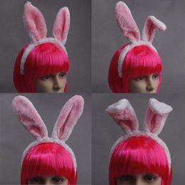 Pink Plush Bunny Rabbit Ears Headband Headwear