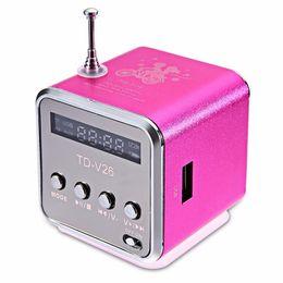 Portable Mini Speaker TD-V26 With FM Antenna Multi-Speaker A V Subwoofer HIFI TF Card USB Disk Digital Sound Box MP3 Music Player LCD Screen