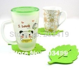 Wholesale Creative fashion felt beautiful green leaf cup mat coaster with Chinese character cup mat retail whcn