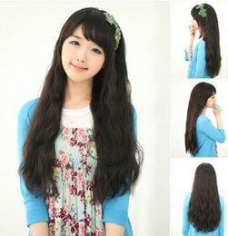 100% New High Quality Fashion Picture full lace wigs fashion sexy new curly wavy full hair wigs womens cosplay party Black long wig