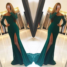 Dark Green Lace Long Sleeves Side Slit Elegant Off-the-Shoulder Prom Dresses Evening Party Gowns Custom Made 2018