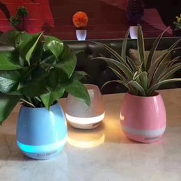 Factory Touch Mini Wireless Bluetooth Flowerpot Speaker with LED Multiple Colors Home Smart Plant Office Mp3 Music Player