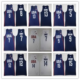 Wholesale 2016 USA Dream Team Kevin Durant Jersey Kyrie Irving Anthony Klay Thompson Paul George Kyle Lowry Stitched jersey