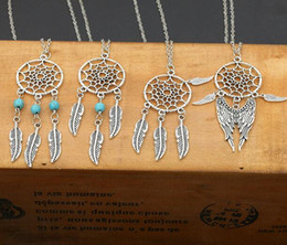 Fashion hot Pendant Necklaces 4 Styles Alloy Dream Catcher girl Necklace For Women Statement Necklace Jewelry Tassel Feather Necklace 24pcs