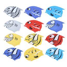 Poissons de silicone pour la pêche à vendre-Vente en gros- Nouveau chaude de poissons de mer chapeaux de natation Enfants mignons Cartoon Silicium de plongée élastique chapeau de bain imperméable Poisson Shark Pattern