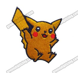 Brand New Golden Pikachu Applique Cartoon Dress Embroidery Patch Iron On Sew On Clothing 100% Embroidery Patch Applique Badge Free Shipping
