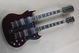 The Wholesale-2015 Hot Sale Customized Dark Crimson Two-neck Electric Guitar with 12 Strings and 6 Strings