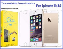 Acheter en ligne Écrans 4s-Pour Iphone 5S Fullbody Protecteur d'écran en verre trempé pour Iphone 7 Plus 6S 4S 9H Dureté Avant arrière Premium Film de protection étiré