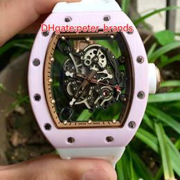 Compra Online Cerámica blanca reloj de pulsera-Rosa reloj de caja de cerámica de color blanco banda de caucho banda mecánica tamaño grande para la señora reloj de pulsera 055 relojes de marca