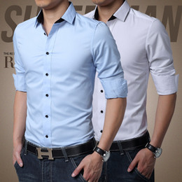In the spring of pure Korean white slim type business casual shirt shirt SHIRT MENS spring