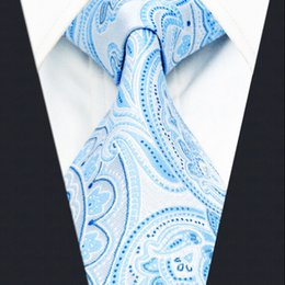 A38 Azure Paisley Mens Ties for male Necktie Silk Jacquard Woven Wedding Fashion Novelty Classic Dress