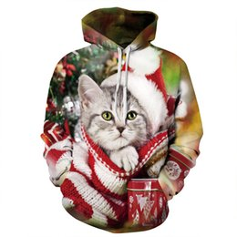 Youthcare Hoodie for Men and Women 3D printed Christmas Cat Hoodie Oversize Pullover Long sleeve tops Sweater