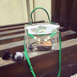 La moda bolsas de plástico transparentes en Línea-Bolso transparente dulce del crossbody del PVC de la pequeña de la venta al por mayor-Moda del caramelo del color de la jalea del claro de la bolsa de plástico de las mujeres bolso pequeño transparente