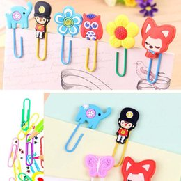 Wholesale Cute Bookmark Diy - 20pcs lot Cute Creative Silicone Cartoon Design Metal Paper Clip DIY Multifunction Bookmark Office School Supplies Free Shipping