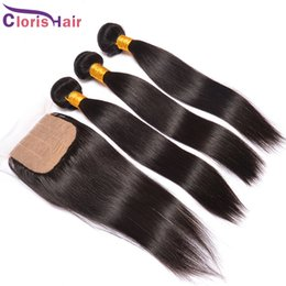 Silky Straight Raw Indian Hair Silk Base Closure With Bundles Unprocessed Straight Human Hair Weaves And Closures Best Extention Factory