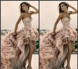 Wholesale Feather Wedding Dresses Plus Size Zuhair Murad Beach High low Newest Short Front Long Back Bridal Dress Lace Up A Line Corset Gowns