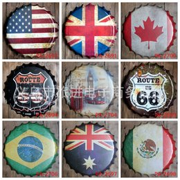 Wholesale National Flag Stereo Caps Iron Paintings England Canada CM Metal Tin Signs Route Big Ben Tin Poster Artistic rj