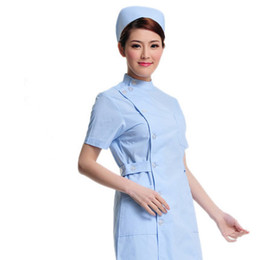 doctor white short-sleeved summer female nurse lab coat pharmacy business attire beautician uniform