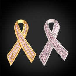 Ruban rose sein en Ligne-Zircon cubique Broche en ruban rose Bijouterie à la mode Femmes Conteste du cancer du sein 18K Broche en plaqué plaqué plaqué or plaqué platine pour cadeau
