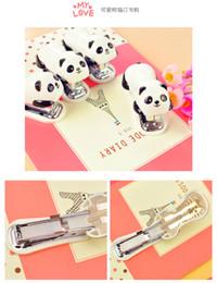 Wholesale 1 mini panda stapler set cartoon office school supplies stationery paper clip Binding Binder book sewer