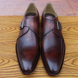 Promotion chaussures robe de moine Chaussures de luxe en cuir de qualité pour homme