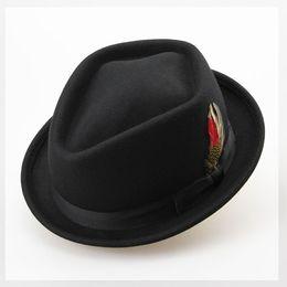 Wholesale Retro Australian Wool Felt Jazz Men Winter Hat CM Floppy Feather Fedora Bow Hat Fashion Flat S M Large Size Woolen Male Hat