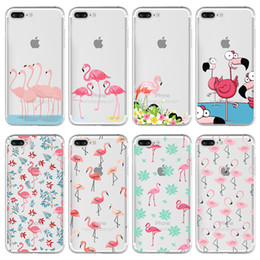 Phone Case For iPhone 7 7Plus 6 6s Plus 5 Samsung custom Colorful Flamingo Soft Case Cover Transparent Silicone Protective Shell