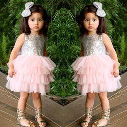Girl Dresses Sequins Bow Gauze Tiered Dress Kids Princess Dress Wholesale Children Clothing 2-7T 1636