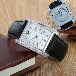 Wholesale 10 styles luxury brand watches men carti anglaise automatic mvmt watch diamond bezel leather band see through watch mens dive wristwatch