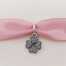 Wholesale Genuine S925 Sterling Silver Beads Sparkling Lucky Clover Pendant Charm Fit Pandora ALE Style Bracelets Necklace Four Leaf Clover Jewelry