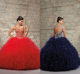 Wholesale Sweet Girl Floor Length Sleeveless Red Navy Blue Embroidery Crystal Velcro V Neck New Fashion Quinceanera One piece Dress