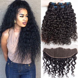 Wet and Wavy Brazilian Human Hair 4 Bundles with Closure Pre Plucked Lace Frontal Closure with Bundles Brazilian Water Wave Virgin Hair
