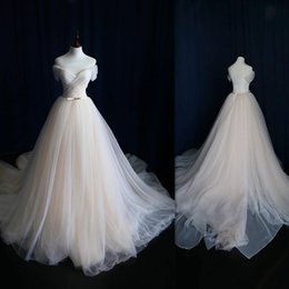 Light Champagne Tulle Wedding Dresses A-line Cap Sleeve Sweetheart Bridal Gowns Court Train Illusion Back Real Photo Dress For Brides
