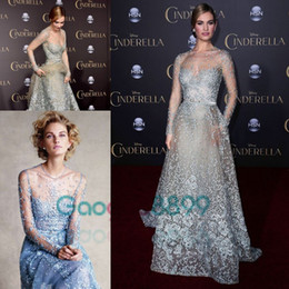 Wholesale Cinderella In Elie Saab Couture Red Carpet Celebrity Dresses Modest Sky Blue Lace Pearls Illusion Long Sleeve Prom Formal Dress