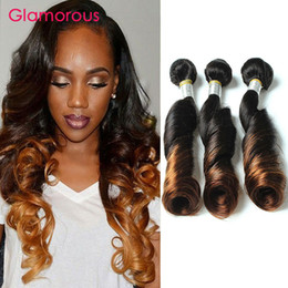 Glamorous Ombre Human Hair Weaves 3 Bundles Brazilian Peruvian Malaysian Indian Funmi Wave Straight Human Hair Extensions for black women
