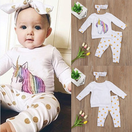 Baby INS unicorn dot Suits Kids Toddler Infant Casual Short long sleeve T-shirt +trousers+Hair band 3pcs sets pajamas newborn clothes suit