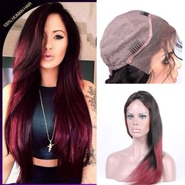 Lace Front Human Hair For Black Women Pre Plucked With Baby Hair Brazilian Straight Remy Human Hair Ombre Wine Red Color 130% Density